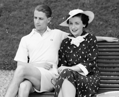Men's tennis gear was modernised during the 1930s when Bunny Austin, pictured here with his wife in 1936, promoted shorts over long trousers [Wikimedia Commons]