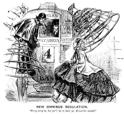 Punch magazine, which had a field day with ladies' fashions, mocked the vast cage crinoline that shaped mid-century dress, in this illustration from October 1858
