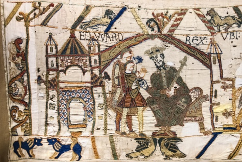 Scene from the Bayeux Tapestry, worked by English embroiderers, 1070s, as a piece of political propaganda reinforcing the legitimacy of the Norman invasion