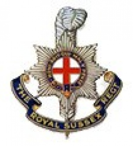 Royal Sussex cap badge.  Brighton was the first town in Sussex to grant the Regiment the Honorary Freedom of Brighton on 27th October 1944.