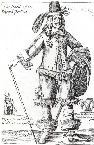 'The Habit of an English Gentleman', late 1640s, mocks the long hair, patched complexion and be-ribboned doublet and petticoat breeches of a fashionable 'gallant'