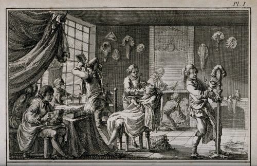 Trained hairdressers and wig-makers were much in demand during the 18th century, as seen in this illustration of a barbers' shop and wig-making establishment, 1762