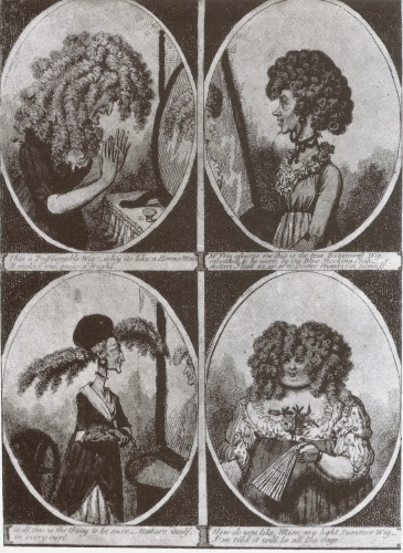 This caricature of c.1800 exaggerates and mocks women who sought to disguise their appearance using unnatural-looking wigs and false curls