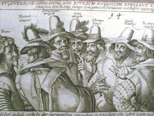 """""""The Great Conspiracy"""" a contemporary Dutch engraving of Guy Fawkes and his fellow conspirators. The gunpowder plot aimed to blow up Parliament, the King, and the House of Lords and return Catholicism to Britain."""