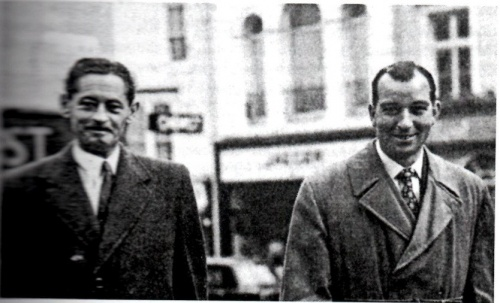 "Photograph courtesy of David Rowland.  John Hammersley (left) and Trevor Heath.  At the time of the trial a policeman in Brighton earned about £6 for a 48 hour week.  Heath, who had a taste for the good things in life, was clearly tempted by the ""dark side"".  Sending his children to private school on a policeman's salary should perhaps have made warning bells ring long before the investigation."