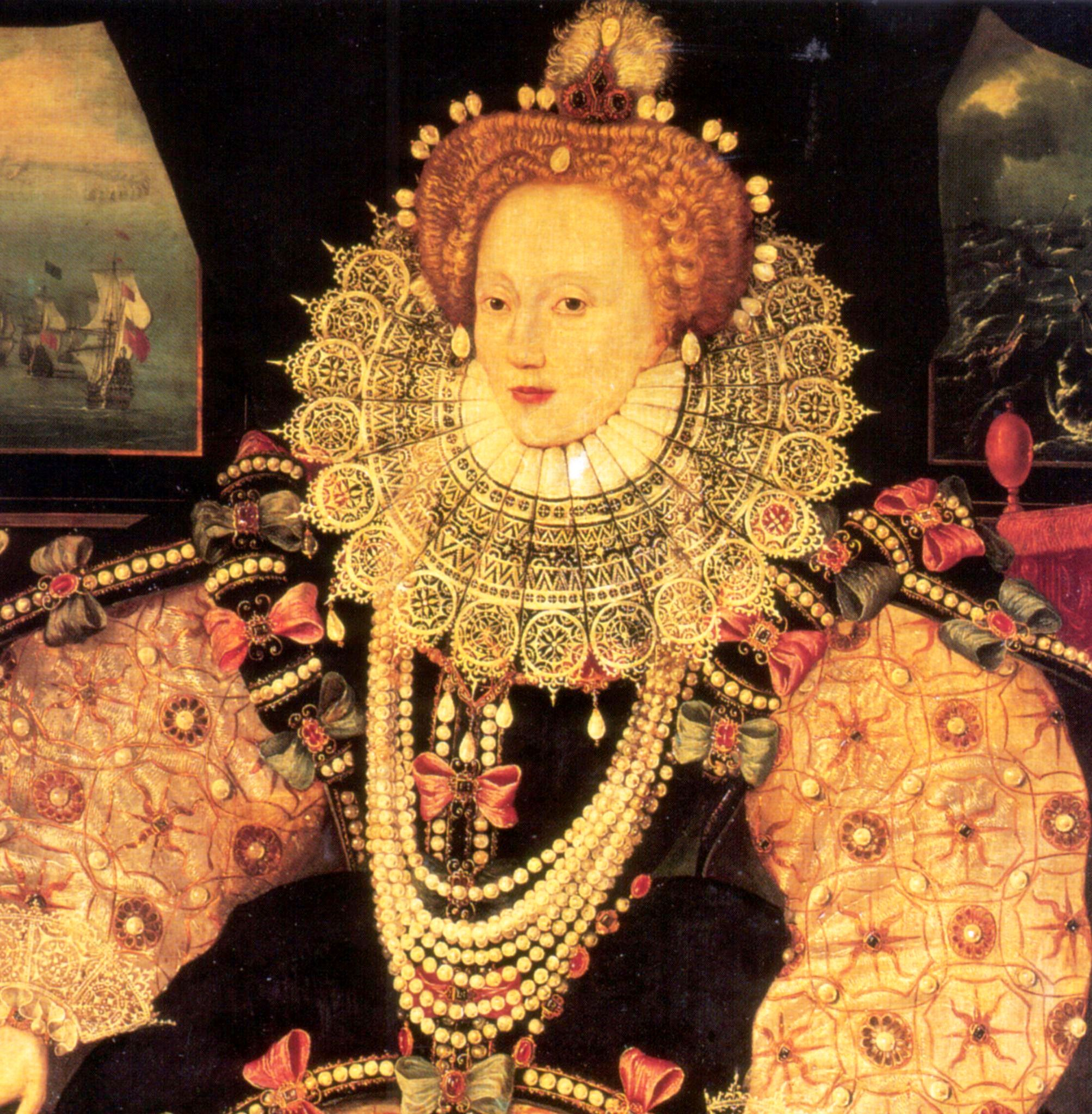 This detail of the Armada Portrait, c.1588, shows an ageing Queen Elizabeth I adorned in jewels and one of her many tightly-curled auburn wigs