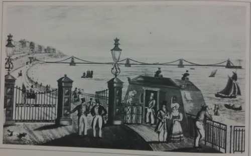 Entrance to the esplanade leading down to the Chain Pier with Henry Ratty's toll-house.  Reproduced courtesy of The Royal Pavilion and Museums, Brighton & Hove