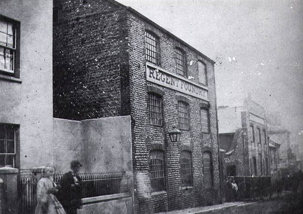 The Regent Iron Foundry on the corner of North Road and in Foundry Street c1890.  It was the town's largest employer for much of the 19th century. The building was demolished in 1921 and the Post Office was built on the site in the 1930s.  Image courtesy of www.mybrightonandhove.
