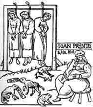 The public hanging of three witches in Chelmsford in 1589. 80% of those who died during the witch panic which began mid 14th century and peaked between 1580 and 1630, were women and the majority of them were old and poor.
