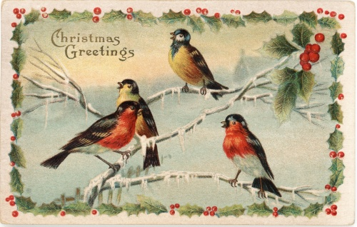 Robins symbolising the red-coated Royal Mail postmen (nicknamed 'robin redbreasts')  who delivered the post were a relatively early theme on Christmas cards