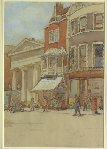 Watercolour by Grace Marion Collcutt. She lived in Brighton in the 1920s.  Perhaps the congregation was going for a trip in the charabanc. Parish records tell us that in 1934 a group from the church visited, of all places, the Green's Sponge Factory!   Image courtesy of Royal Pavilion & Museums, Brighton & Hove.