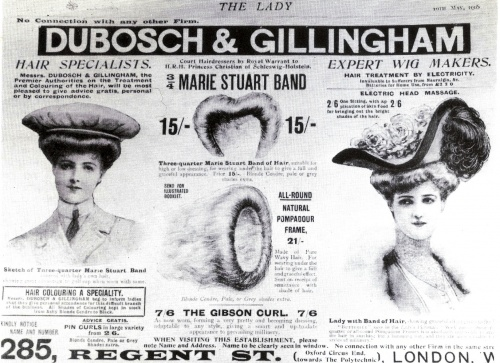 A woman's hair was her 'crowning glory' and in the Edwardian era many aids were available to create the full upswept styles, as seen in this advertisement, 1905