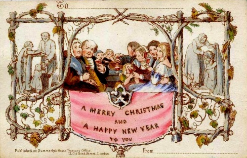 The first Christmas card was designed in 1843 by John Callcott Horsley for Sir Henry Cole