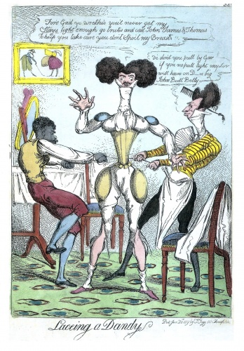 A Regency 'dandy', obsessed with his appearance, employs tight corsetry and extra padding to create the desired fashionable look in this satire, 1819