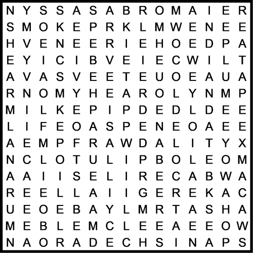 Abele,   Abroma,  Acer,  Akee,  Aloe,  Arum,  Asa,  Ash,  Aspen,  Atap,  Bay,  Bead,  Bole,  Box,  Dali,  Dwarf,  Elm,  Emblica,  Fir,  Haw,  Hip,  Hop,  Indian date,  Ivy,  Lana,  Lilac,  Lime,  Macaw,  May,  Milk,  Mimosa,  Mowa,  Myall,  Nargil,  Nut,  Nyssa,  Oak,  Olive,  Osier,  Pear,  Pecan,  Pipe,  Plum,  Redwood,  Roan,  Shea,  Smoke,  Spanish cedar,  Spruce,  Tea,  Teil,  Tod,  Tulip,  Veneer,  Vine,  White poplar,  Yew