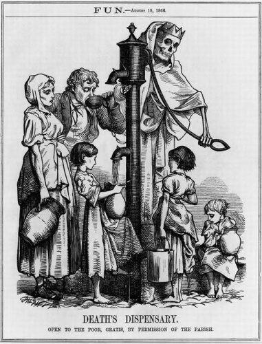 This drawing by George John Pinwell was published during the cholera epidemic of 1866, and marked the recognition of John Snow's account of how cholera was transmitted.  Although Dr. Snow did not discover the cause of cholera, he did show how the disease could be spread and how to stop a local outbreak. This was the beginning of modern epidemiologic studies.