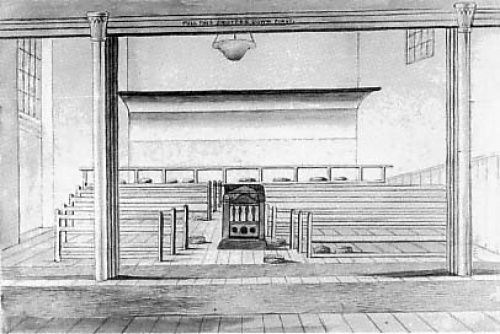 Interior of the Friends' Meeting House.  Heated by a centrally placed coke stove.  The only internal decoration was a wide coved sounding-board over the speakers' end of the room and a gallery at the west end.  About 400 people could be seated. Drawing by W.A. Delamotte, 1853