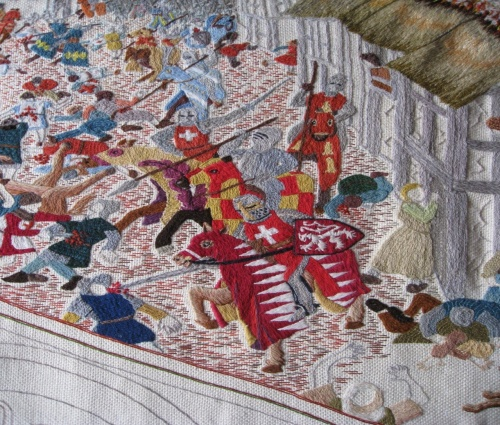 A definite must see is the specially designed tapestry stitched by local embroiderers. Based on drawings by Lewes artist Tom Walker, the tapestry tells the story of the battle using 13th century embroidery techniques.