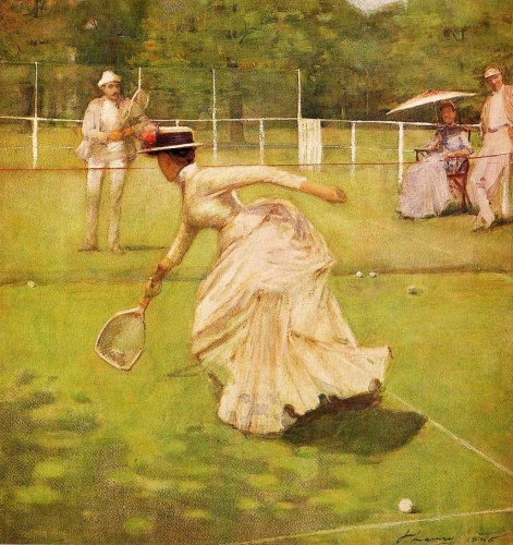 A Rally by Sir John Lavery, 1885, depicts male players in white flannel trousers, a linen jacket and striped blazer, while women played in corsets and floor-length bustle skirts [Wikimedia Commons]