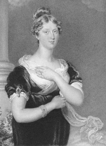 An engraving based on Sir Thomas Lawrence's painting of Charlotte, which she sat for in her final days